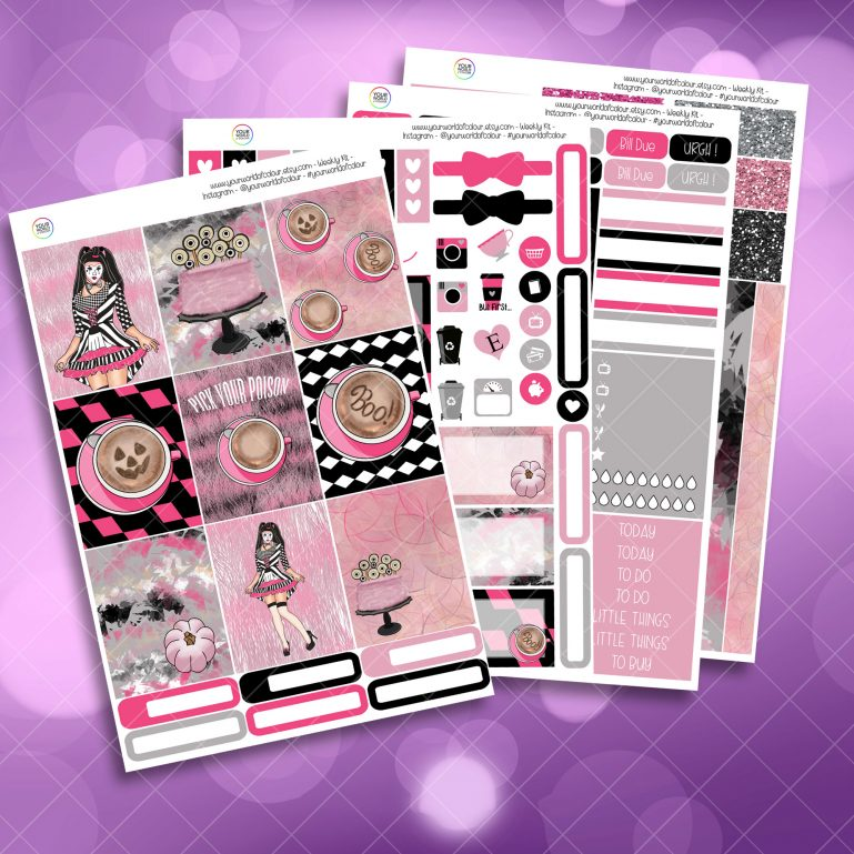 Pick Your Poison Full Four Sheet Weekly Planner Sticker Kit