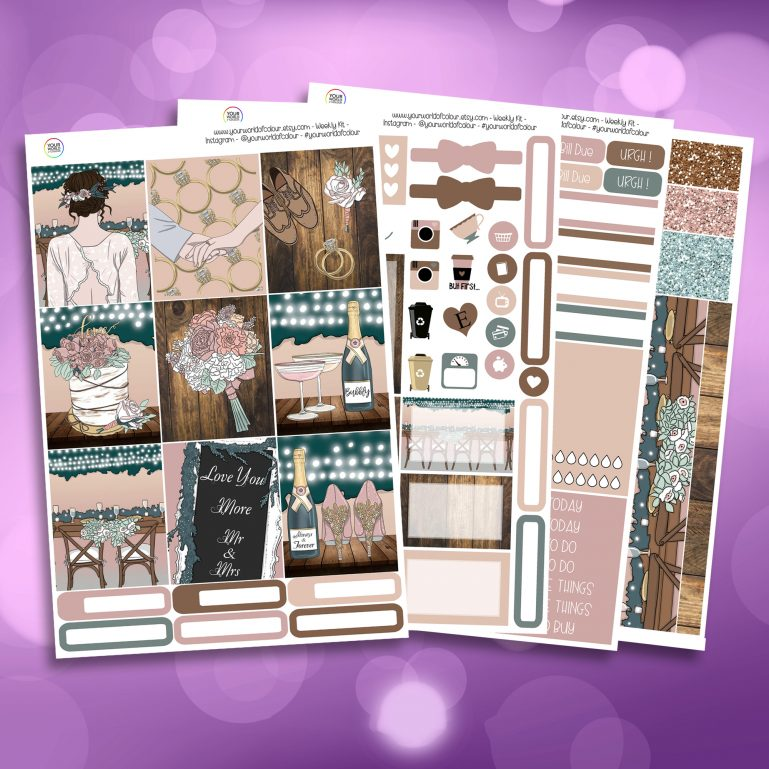 Love You More Full Four Sheet Weekly Planner Sticker Kit