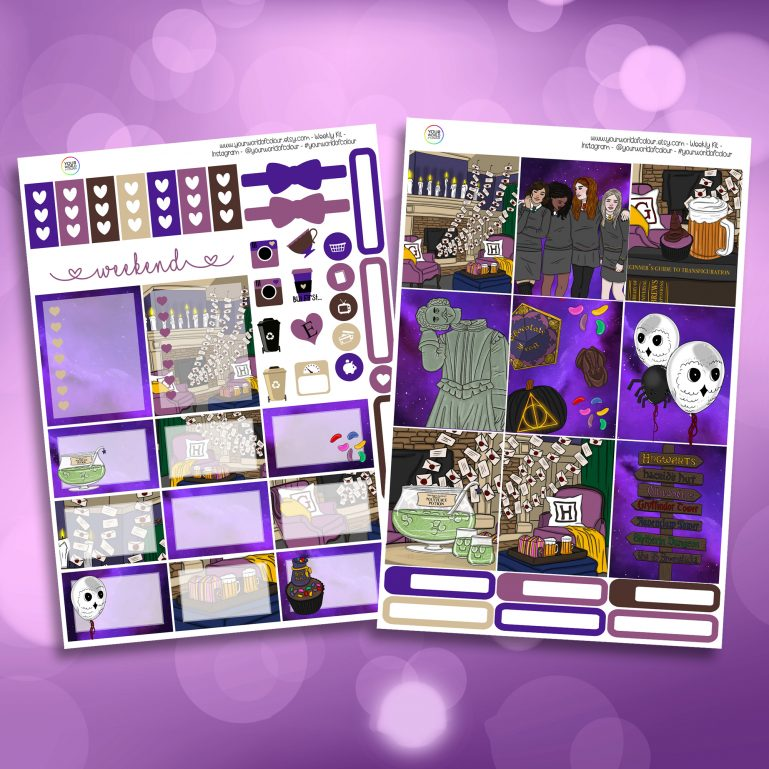 Wizard Party Two Sheet Weekly Planner Sticker Kit