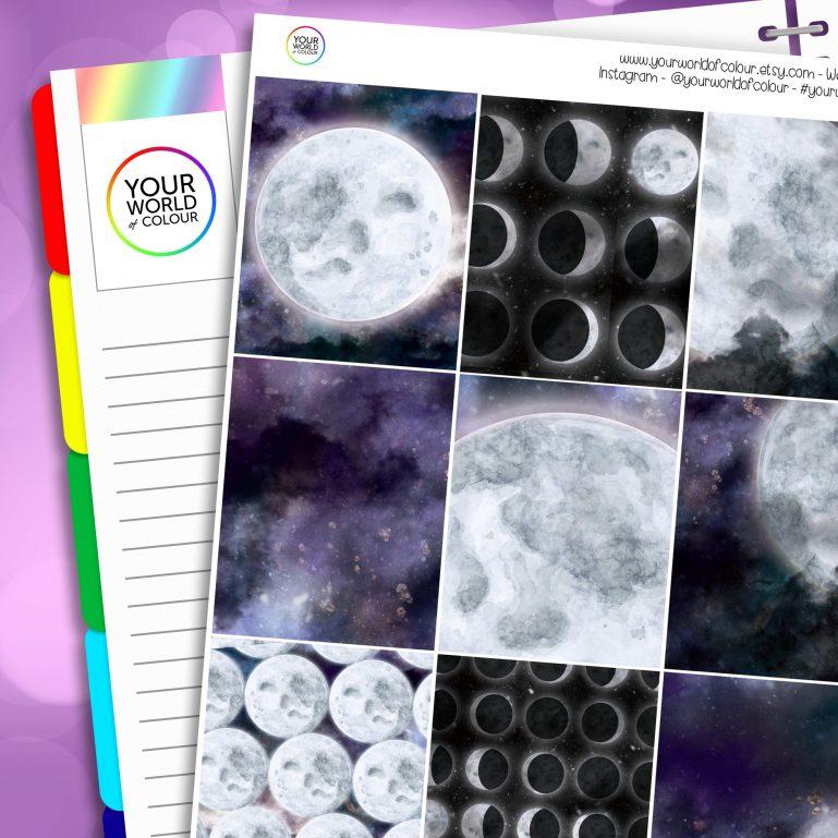 Galaxy Moon Erin Condren Weekly Planner Sticker Kit