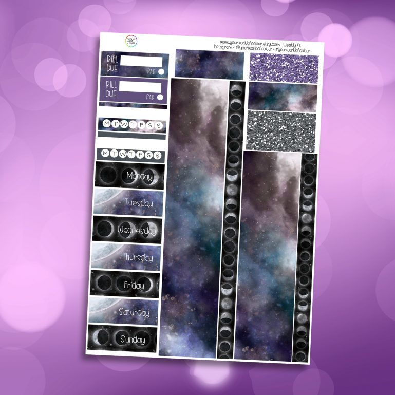 Galaxy Moon Washi and Date Cover Stickers
