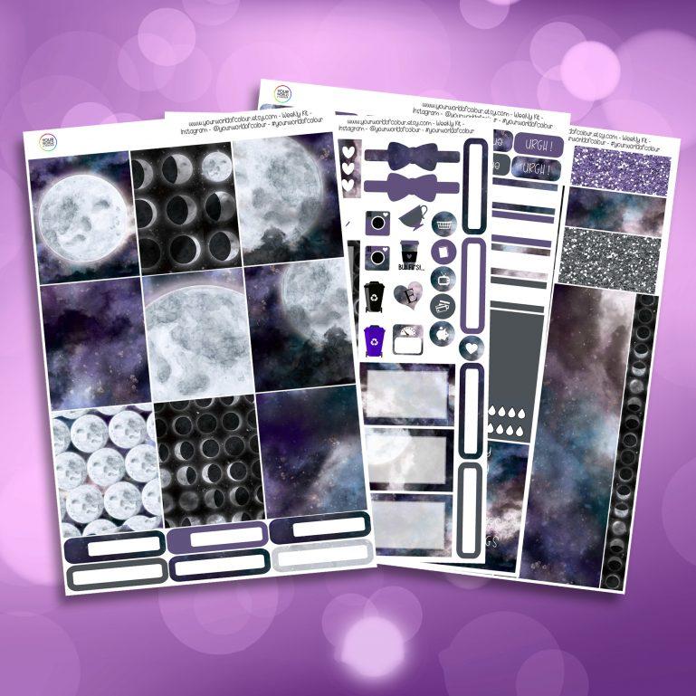 Galaxy Moon Full Four Sheet Weekly Planner Sticker Kit