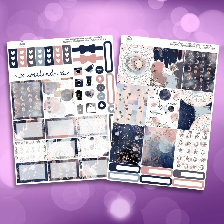 Beyond The Stars Two Sheet Weekly Planner Sticker Kit