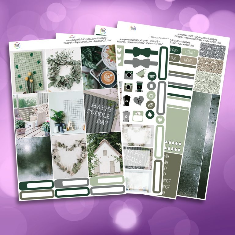 Green Faze Full Four Sheet Weekly Planner Sticker Kit