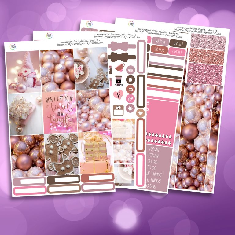Pink Christmas Full Four Sheet Weekly Planner Sticker Kit