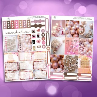 Pink Christmas Two Sheet Weekly Planner Sticker Kit