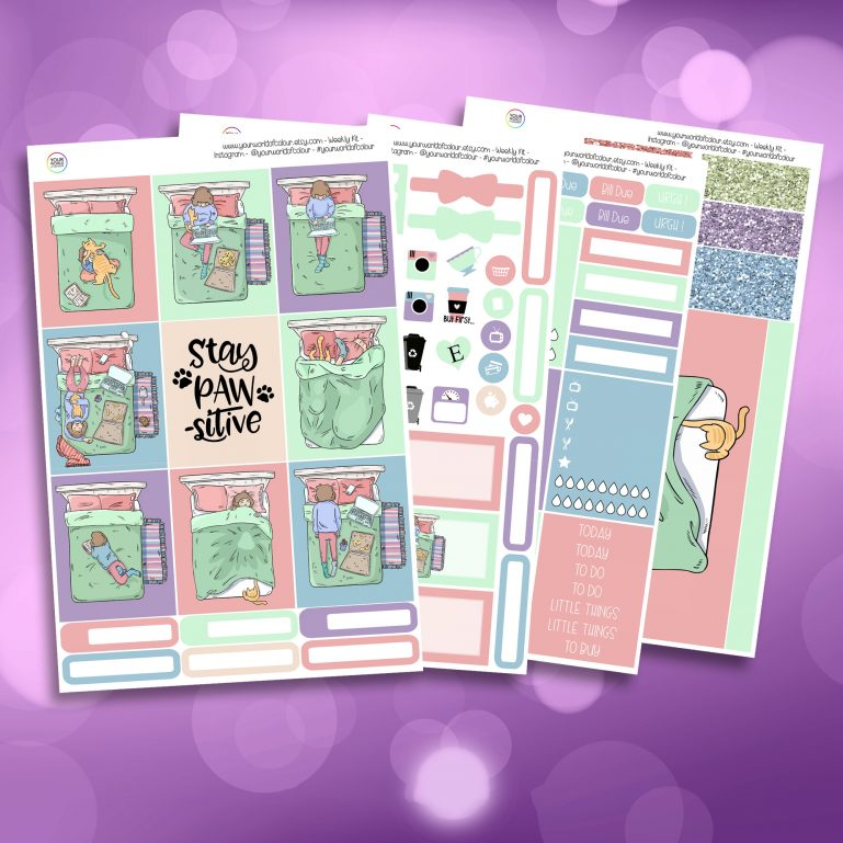 Me And My Cat Full Four Sheet Weekly Planner Sticker Kit