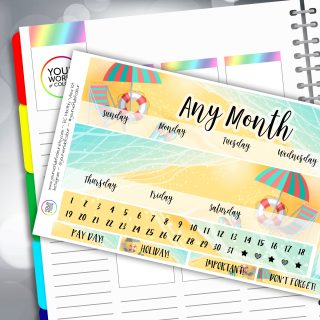 Beach Life Erin Condren Monthly Sticker Kit