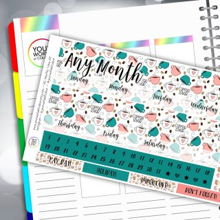 I Love Coffee Erin Condren Monthly Sticker Kit