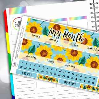 Sunflowers Erin Condren Monthly Sticker Kit