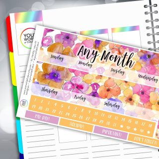 Watercolour Floral Erin Condren Monthly Sticker Kit