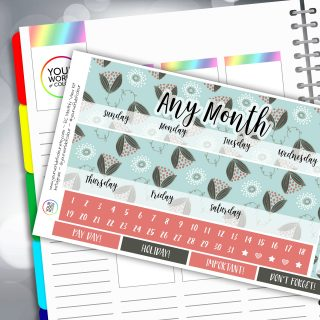 Winter Floral Erin Condren Monthly Sticker Kit