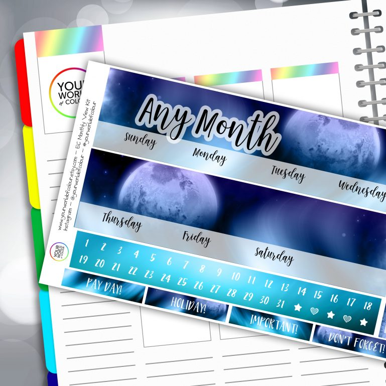 Northern Lights Erin Condren Monthly Sticker Kit