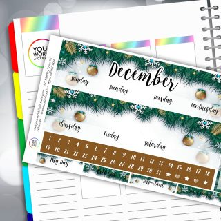 Festive Christmas Erin Condren Monthly Sticker Kit