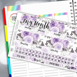 Purple Floral Erin Condren Monthly Sticker Kit