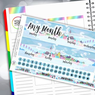 Snowy Hills Erin Condren Monthly Sticker Kit