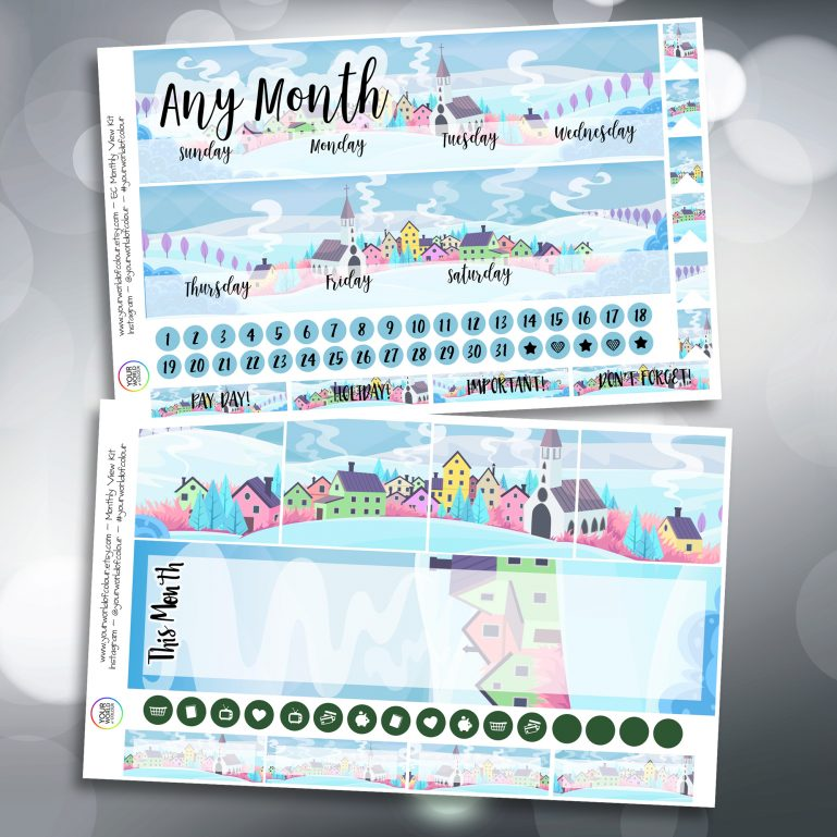 Snowy Hills Two Sheet Erin Condren Monthly Planner Sticker Kit