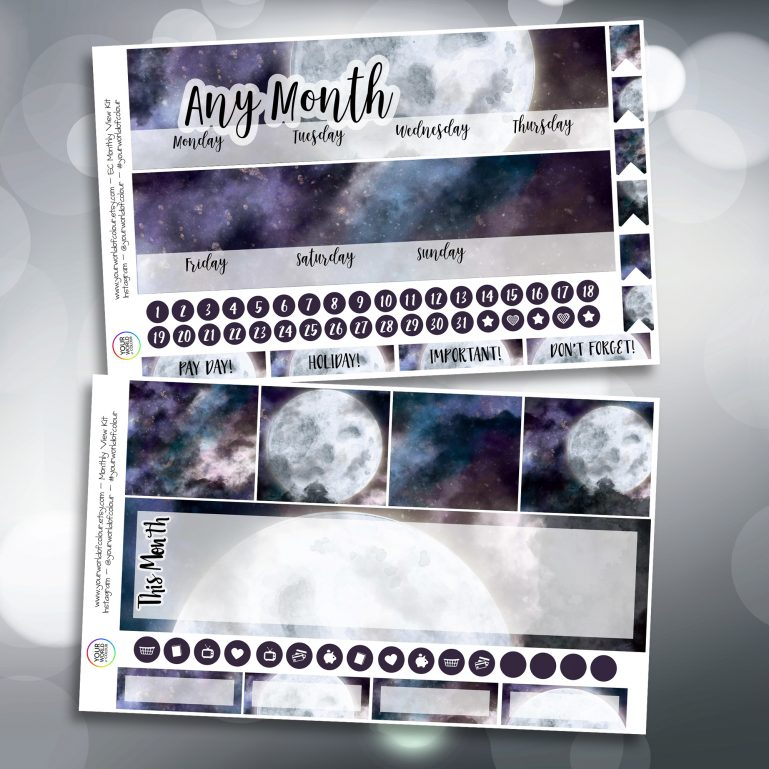 Galaxy Moon Two Sheet Erin Condren Monthly Planner Sticker Kit
