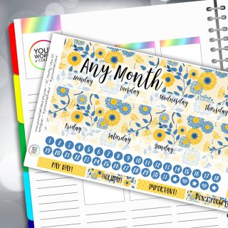 Springtime Floral Erin Condren Monthly Sticker Kit