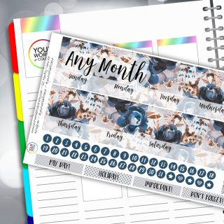 Shades Of Blue Erin Condren Monthly Sticker Kit