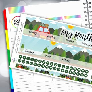 Road Trip Erin Condren Monthly Sticker Kit