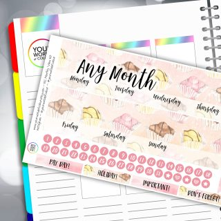 All About The Cake Two Sheet Erin Condren Monthly Planner Sticker Kit