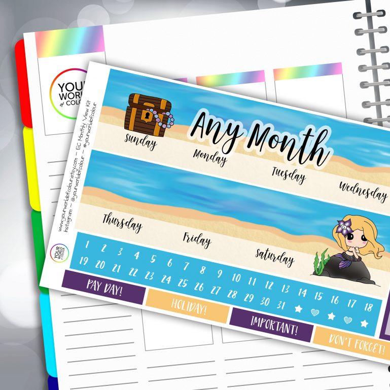 Mermazing Erin Condren Monthly Sticker Kit