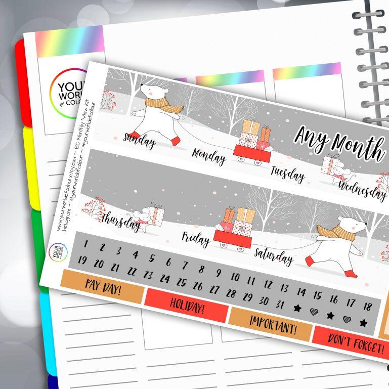 Winter Friends Erin Condren Monthly Sticker Kit
