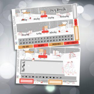 Winter Friends Two Sheet Erin Condren Monthly Planner Sticker Kit