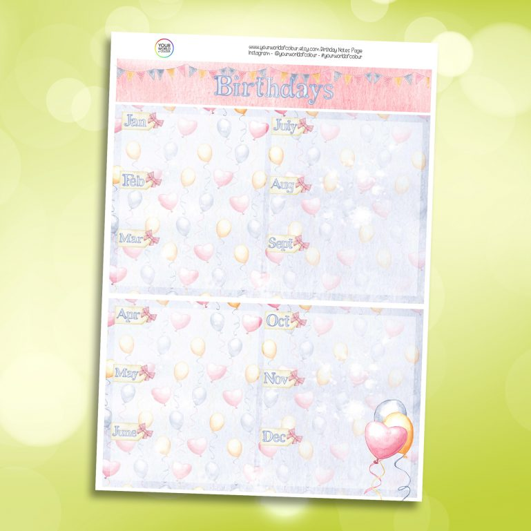 Birthdays Erin Condren Notes Page Planner Sticker Kit