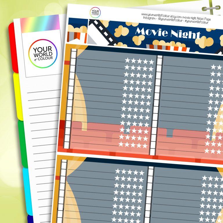 Movie Erin Condren Notes Page Planner Sticker Kit