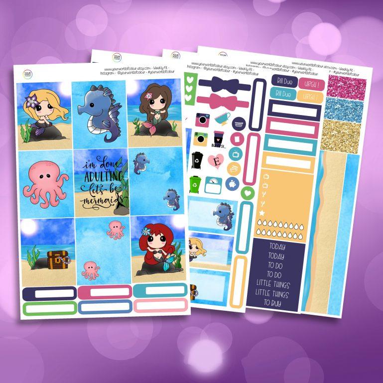 Mer-Mazing Full Four Sheet Weekly Planner Sticker Kit