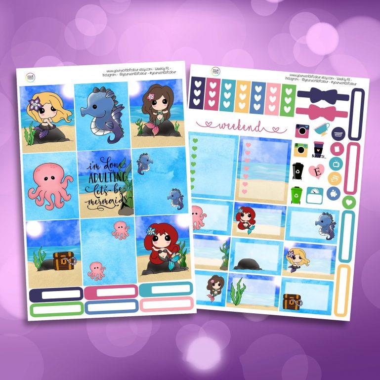 Mer-Mazing Two Sheet Weekly Planner Sticker Kit