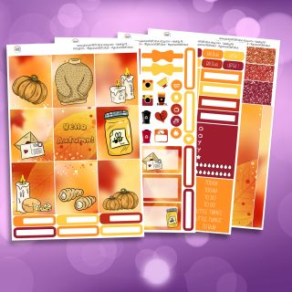 Autumn Sweater Weather Full Four Sheet Weekly Planner Sticker Kit