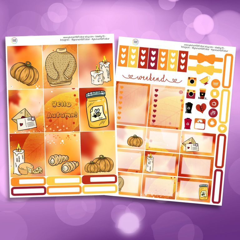 Autumn Sweater Weather Two Sheet Weekly Planner Sticker Kit