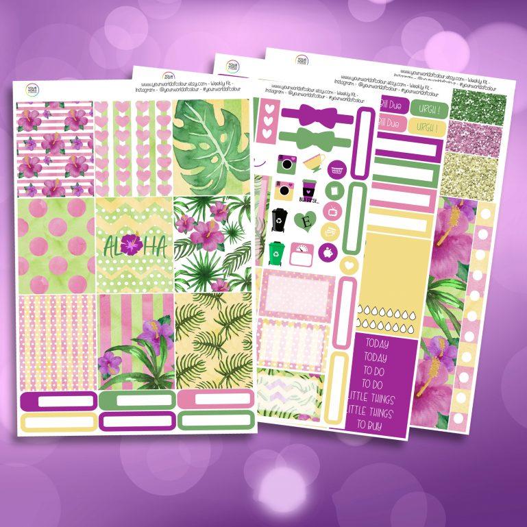 Aloha Full Four Sheet Weekly Planner Sticker Kit