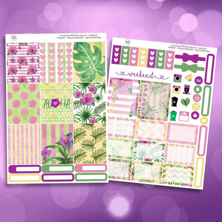 Aloha Two Sheet Weekly Planner Sticker Kit