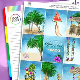 Island Escape Erin Condren Weekly Planner Sticker Kit