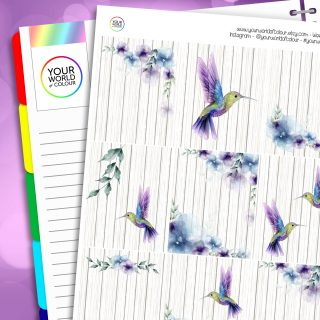 Hummingbird Floral Erin Condren Weekly Planner Sticker Kit
