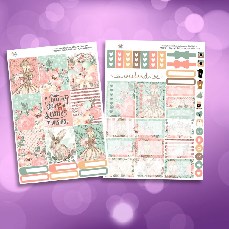 Bunny Kisses Two Sheet Weekly Planner Sticker Kit