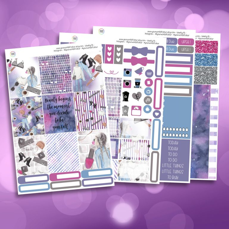 Be Yourself Full Four Sheet Weekly Planner Sticker Kit
