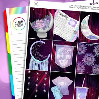 Moon Child Erin Condren Weekly Planner Sticker Kit