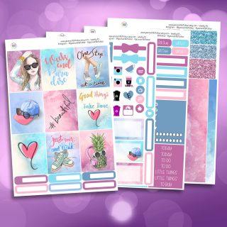 Beautiful Full Four Sheet Weekly Planner Sticker Kit