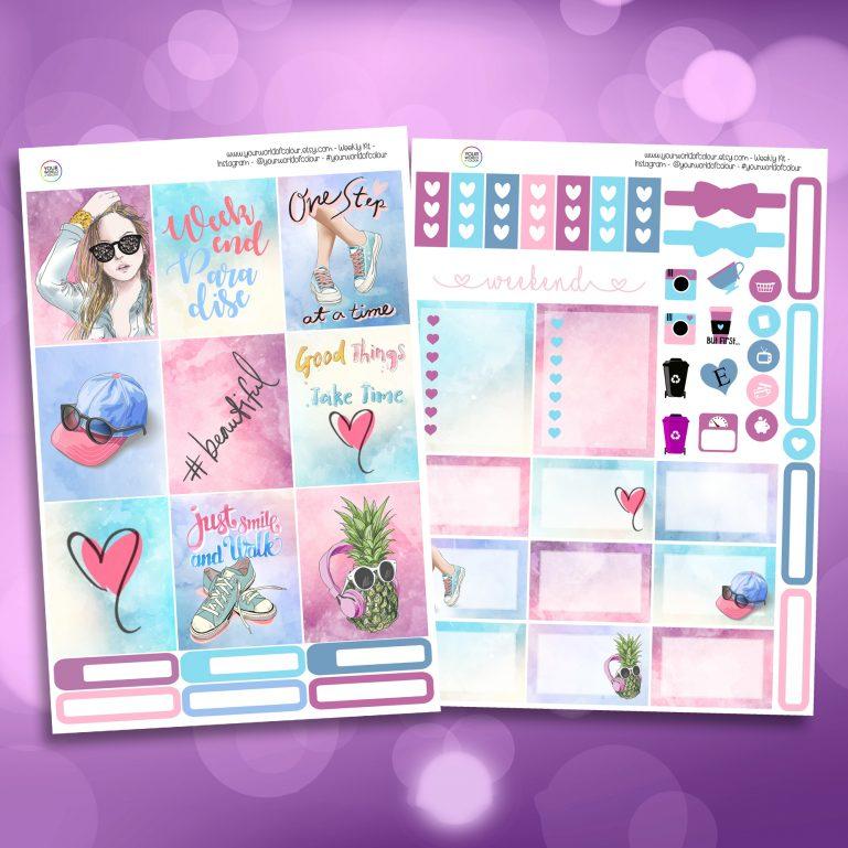 Beautiful Two Sheet Weekly Planner Sticker Kit