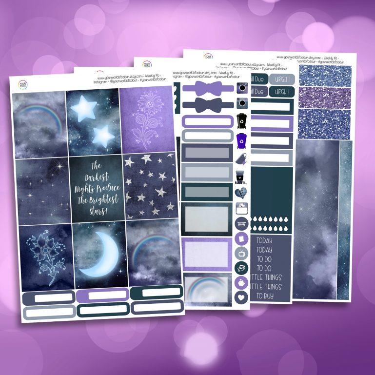 Brightest Star Full Four Sheet Weekly Planner Sticker Kit