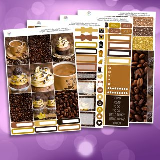 Coffee and Cake Full Four Sheet Weekly Planner Sticker Kit
