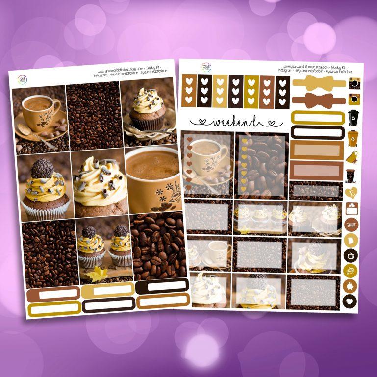 Coffee and Cake Two Sheet Weekly Planner Sticker Kit