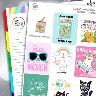 Cat Quotes Full Box Planner Stickers