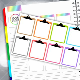 Clipboard Full Box Planner Stickers - Pastels