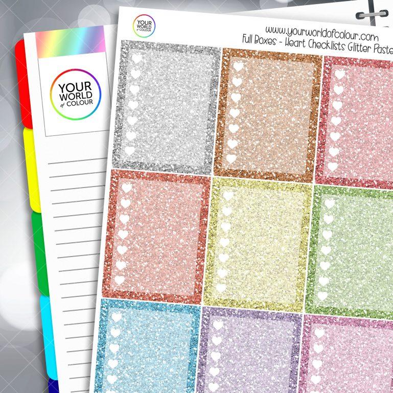Heart Checklist Full Box Planner Stickers - Glitter Light